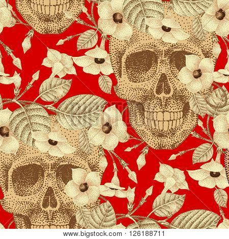 Template pattern of human skulls and flowers seamless vector. Vintage. Human skulls and devil's guts on a red background. Illustration of gold human skulls and plants. Designed on the theme of death.
