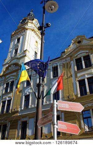 Pecs Hungary. City in Baranya county. City hall tower