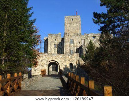 Main Entrance To The Strecno Castle, Slovakia / Road and Gate Of Strecno Castle