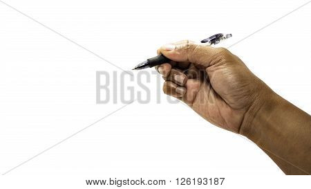 Men hand is ready for drawing with black marker. Isolated on white