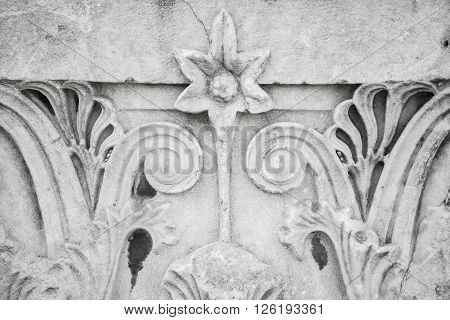 Floral Ancient Stone Carving Ornament