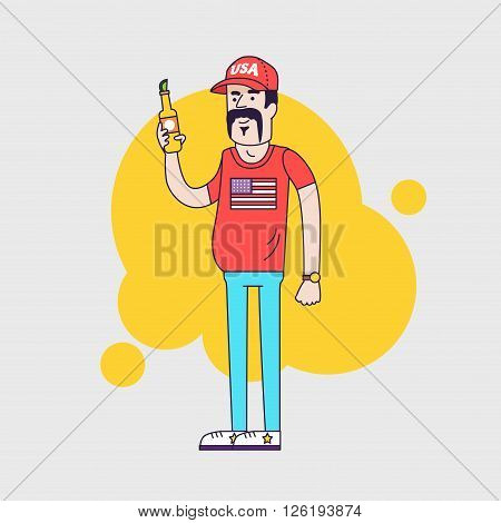 Cartoon vector character. Truck driver with mustache in cap. Illustration of the american redneck with big belly, is holding a beer bottle. Resident of the southern states. Linear flat style
