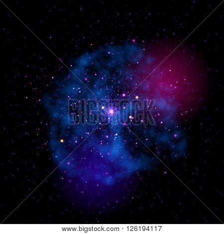 Vector cosmic stardust cloud. Strafield nebula mist. Bright constellation of stars in shining galaxy.