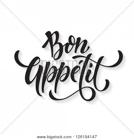 Bon Appetit text. Vector calligraphy.
