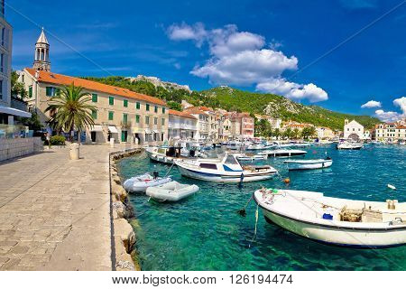 Scenic coast of town Hvar Dalmatia Croatia