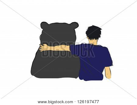 Unidentified man hug the big black bear for encourage my own sketch drawing with coloring