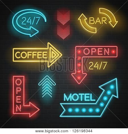 Motel and bar neon realistic arrows set on bricks background isolated vector illustration