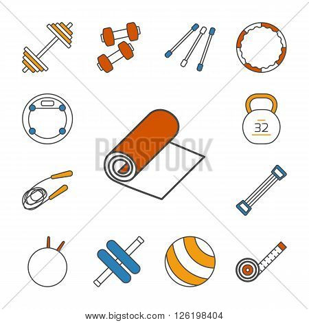 Set of isolated thin lined outlined icons. Tools and accessories for aerobics and sport. Dumbbells, fitball, jump rope, step, expander, gymnastic stick, barbell, hula hoop, roller. Vector illustration