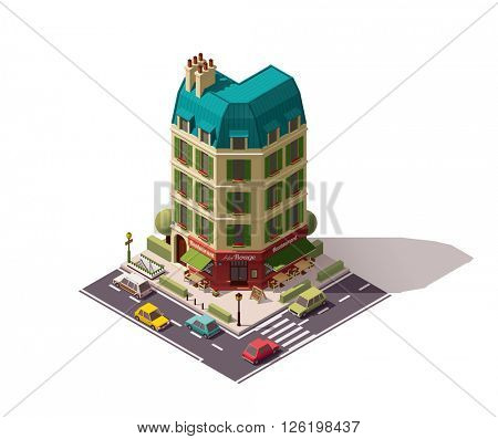 Isometric Paris building with restaurant