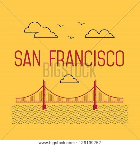 San Francisco Golden Gate Bridge. San Francisco vector landmark illustration. Line flat style. San Francisco view