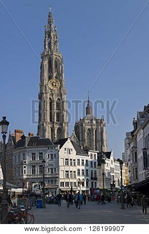 Antwerp,Belgium,March 17,2016,Onze-Lieve-Vrouwekathedraal and Suikerrui