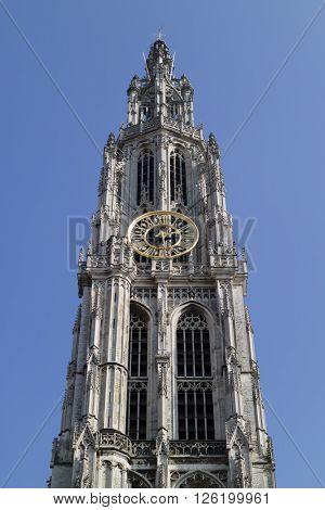 Antwerp, Belgium, March, 17, 2016,Tower of the Onze-Lieve-Vrouwekathedraal atHandschoenmarkt in Antwerp, belgium