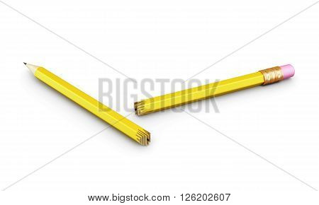Broken pencil isolated on white background. 3d render image.