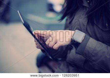 Always Connected Using Smart Watch And Tablet Pc