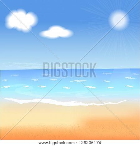 summer vector illustration. Beach sea blue sky and sun.  Travel season background. Tropical relax scene. Summer wallpaper. Summer picture. Summer image