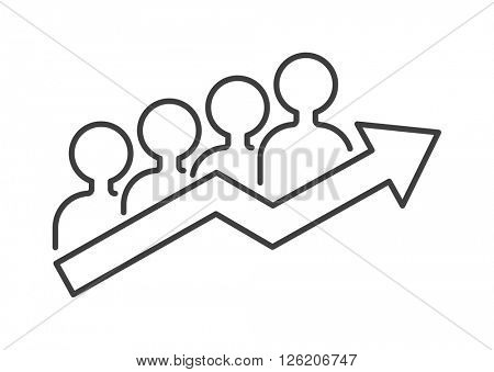 Teamwork business people teambuilding icon group communication concept symbol outline vector.