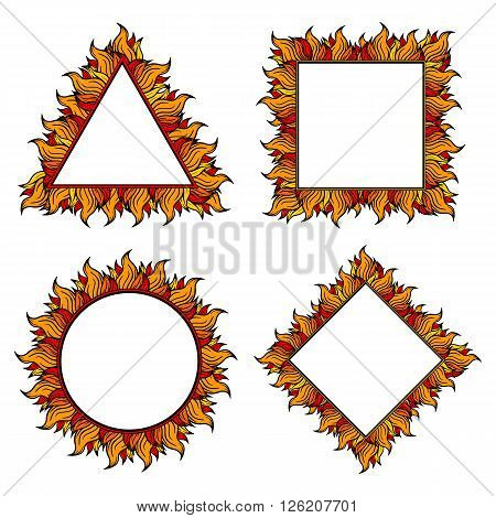 Set of colorful squared, circle and triangle frames with spurts of flame. Vector illustration. Rock'n'roll style.