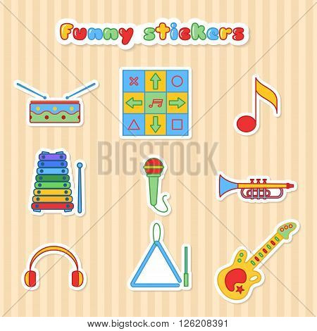 Set of vector musical instrumen stickers. Vector illustration in a flat style. Collection vector label for web design, mobile applications, design flyers, discounts and advertising