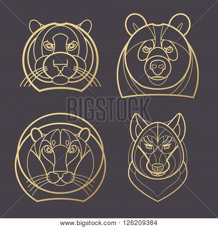 Vector illustration predatory animals. Designed create logo icon in modern style mono line. Predatory animals tiger lion bear wolf isolated on black background. Print gold foil. Symbol strength.