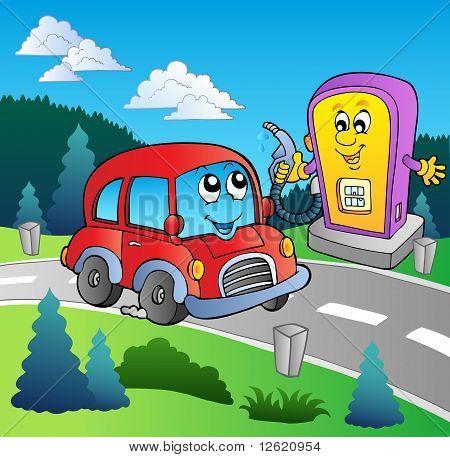 Niedlich Auto an Cartoon-Tankstelle
