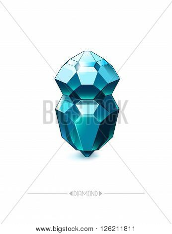 Diamond isolated on white background. Poster with beautiful gem. Vector illustration eps 10