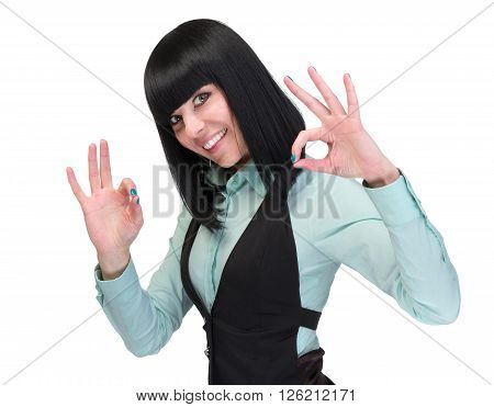 OK sign woman. Businesswoman showing okay hand sign. Successful and beautiful caucasian business woman isolated on white background.