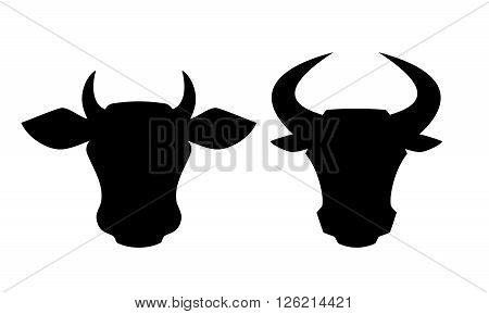 Cow and bull head icons isolated on white background