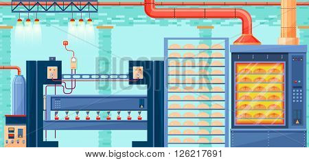 Stock vector illustration interior of plant, factory, bakery and baking for production of bakery products in flat style element for info graphic, website