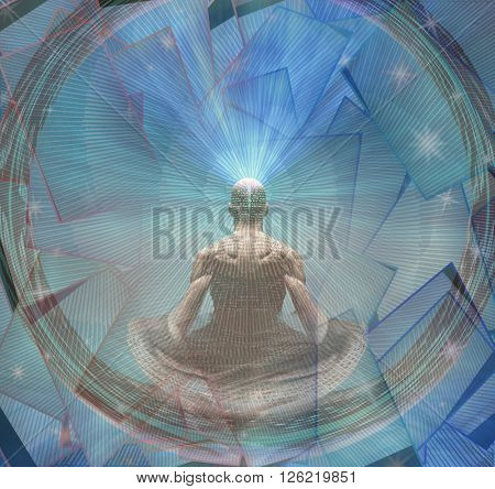 Meditating Man and Energy 3D Render