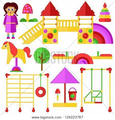 Cute children's playground with nice girl vector set.