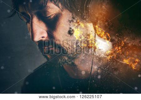 DJ on fire man with burning headphones enjoying favorite song or music selective focus