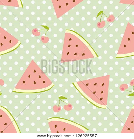 Watermelon and cherries seamless pattern with polka dots