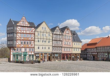 NEU ANSPACH, GERMANY - APRIL 18,2016: the marketplace in the open air museum Hessenpark, Neu Anspach, Germany