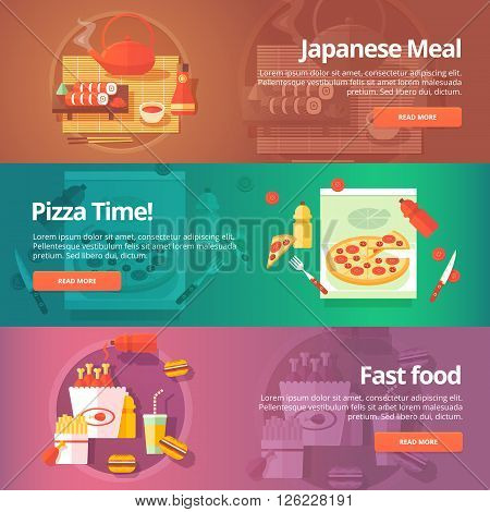 Food and kitchen banners set. Flat illustrations on the theme of japanese sushi, pizza time, fast food. Vector design concepts.