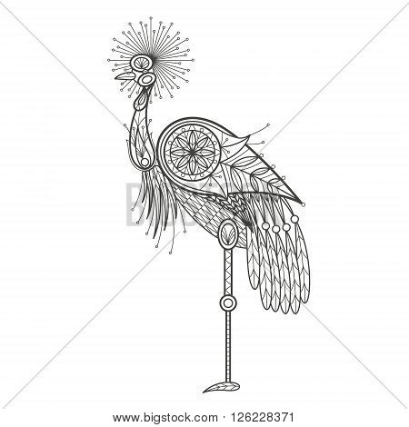 Vector illustration decorative bird crane on white background. Fashion trend of adult coloration. Bird crane with elements oriental motif. Black and white bird crane. Modern vector design.