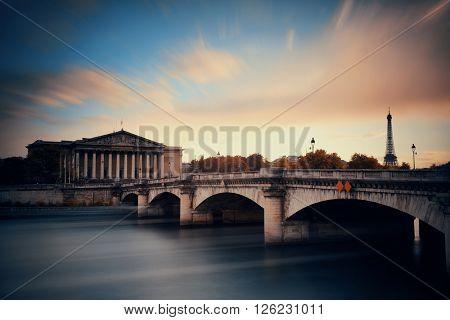 Paris River Seine and bridge with Assemblee Nationale