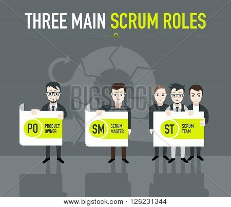 Three main scrum roles on grey background