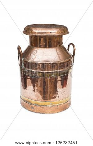 A Vintage Copper And Brass Milk Churn
