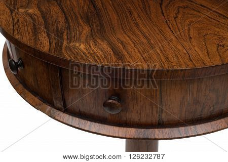 Closeup Of Sides And Handles Of An Antique Drum Table