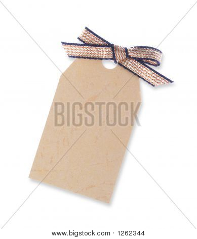 Yellow Gift Tag Tied With Ribbon (Including Clipping Path)