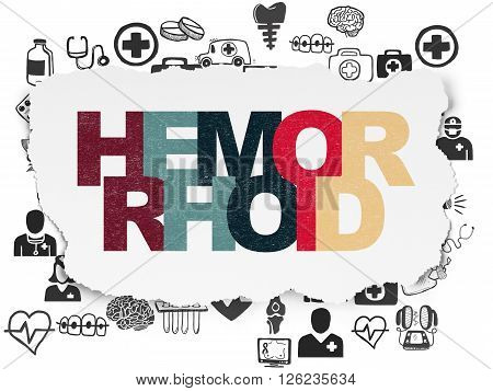 Medicine concept: Hemorrhoid on Torn Paper background