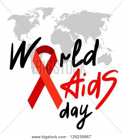 World AIDS Day. 1st December World Aids Day poster with with calligraphic text AIDS Day . Vector AIDS Day illustration