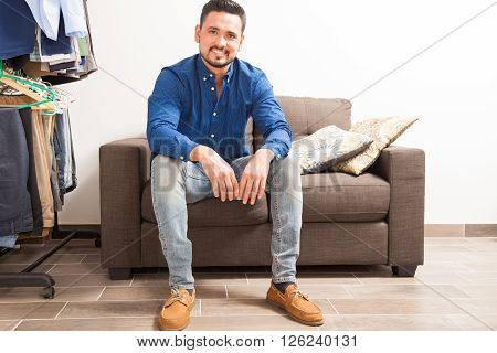 Handsome Man Sitting In A Dressing Room