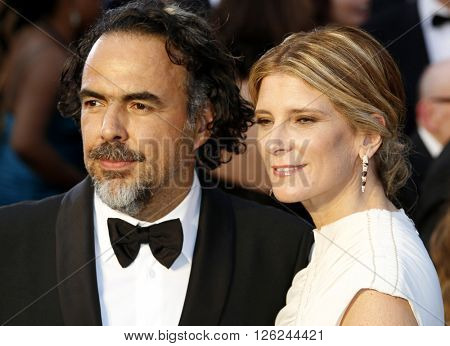 Alejandro G. Inarritu and Maria Eladia Hagerman at the 88th Annual Academy Awards held at the Dolby Theatre in Hollywood, USA on February 28, 2016.