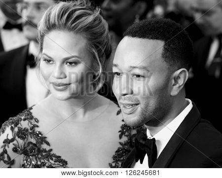 John Legend and Chrissy Teigen at the 88th Annual Academy Awards held at the Dolby Theatre in Hollywood, USA on February 28, 2016.