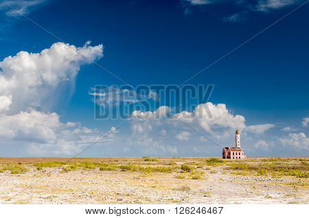 Lonely lighthouse at the desertic Klein Curacao island, close to Curacao, Netherland Antilles