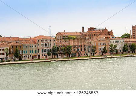 View of Giudecca island's San Biagio fondamenta from the Canale della Giudecca