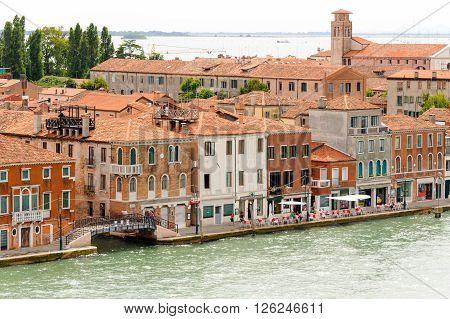 VENICE, ITALY - JULY 10, 2009: View of Giudecca island's Sant'Eufemia fondamenta from the Canale della Giudecca