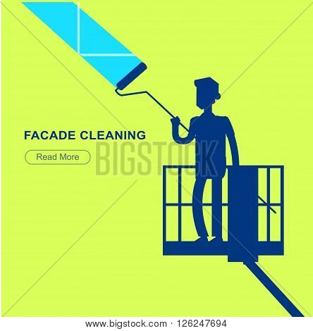 Illustration of a window washer cleaner cleaning a window. Vector silhouette character men worker on lift