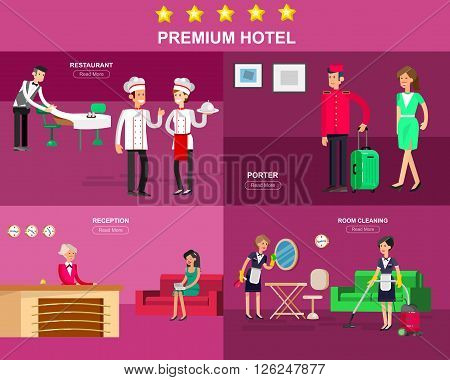 Hotel staff and service, Hotel reception, Hotel Room cleaning and Hotel restaurant, detailed character porter, chambermaid, chief cooker, cool flat tourism Hotel elements